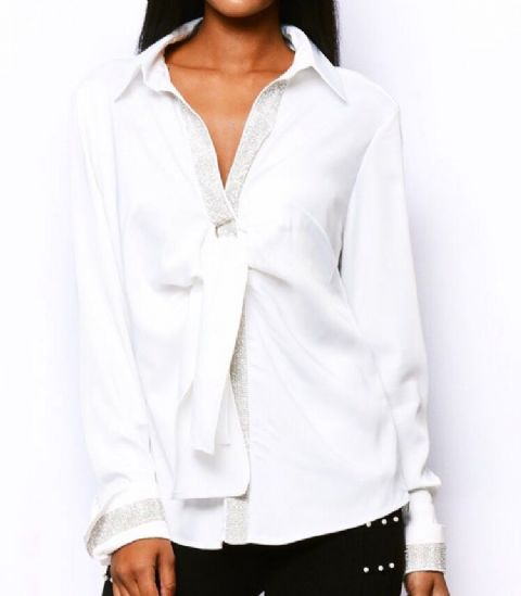 Crystal Diamante Cuff Shirt White